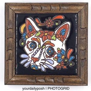 Mexican Day of the Dead cat Talavera tile trivet